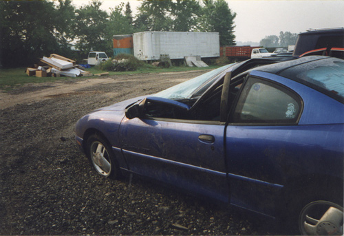 Crashed Pontiac Sunfire